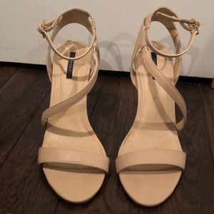 Nude vegan strappy leather heels